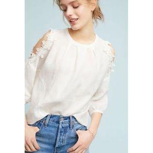Anthro Eri + Ali Floral Open Shoulder White Top XS